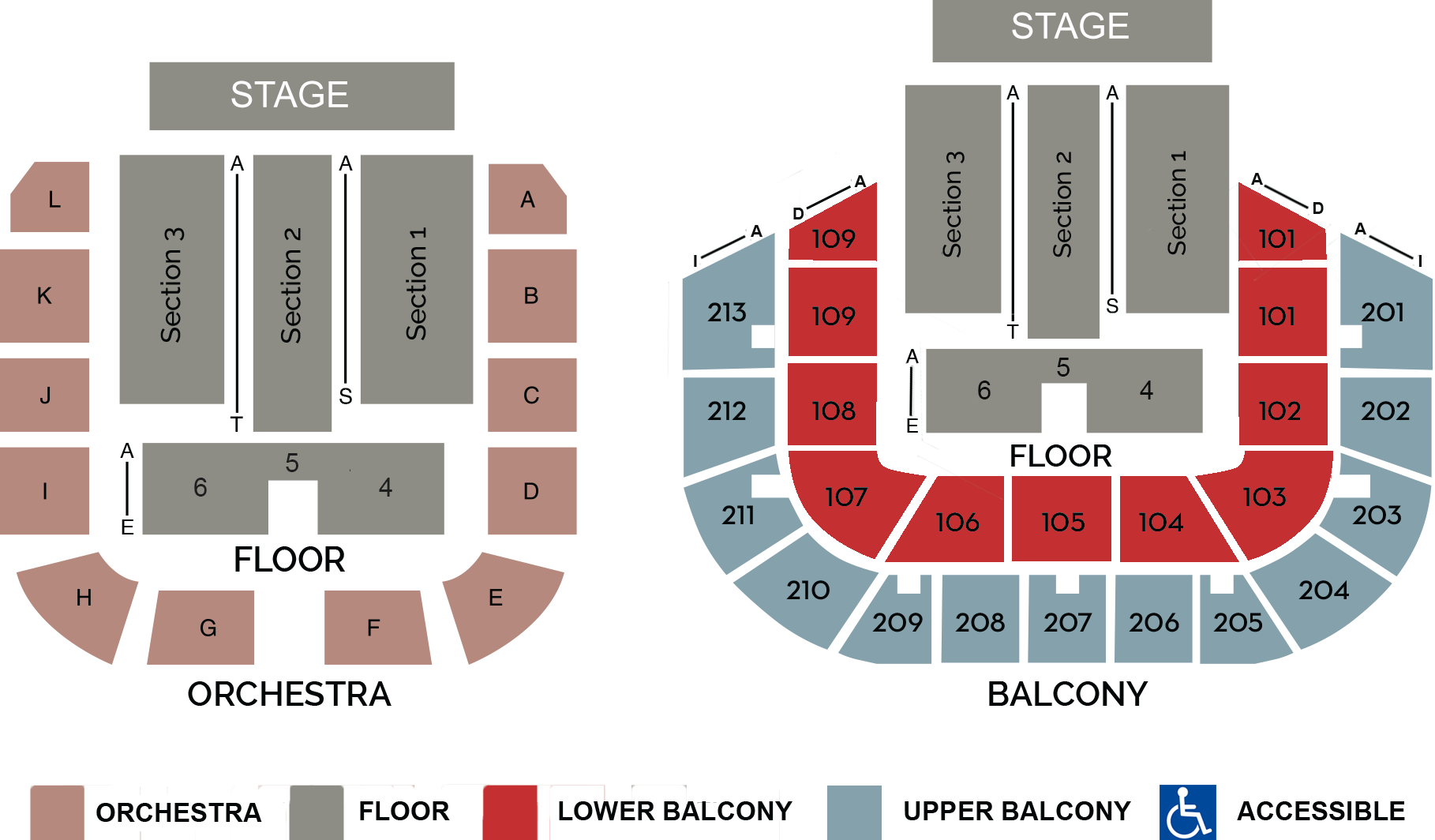 Seating Chart and Floor Layout of Shreveport Municipal Auditorium